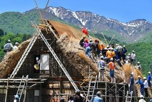 將白川鄉技術傳至全球 在地師傅示範鋪設茅草屋頂(影片)