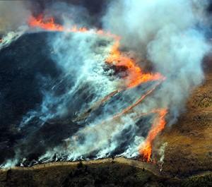 山口·秋吉台燒山活動1300人參加 草原火焰蔓延場面壯觀(影片)
