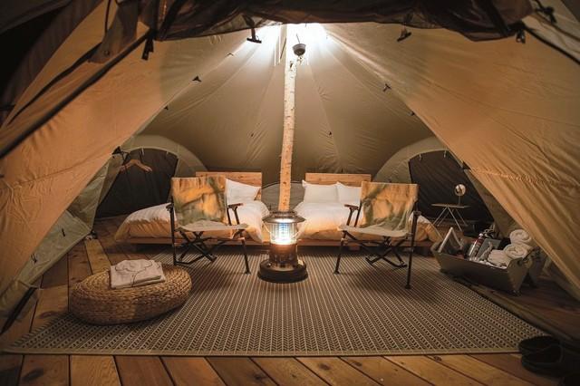 宛如高級飯店的豪華露營 長野縣滑雪場淡季攬客設施開幕