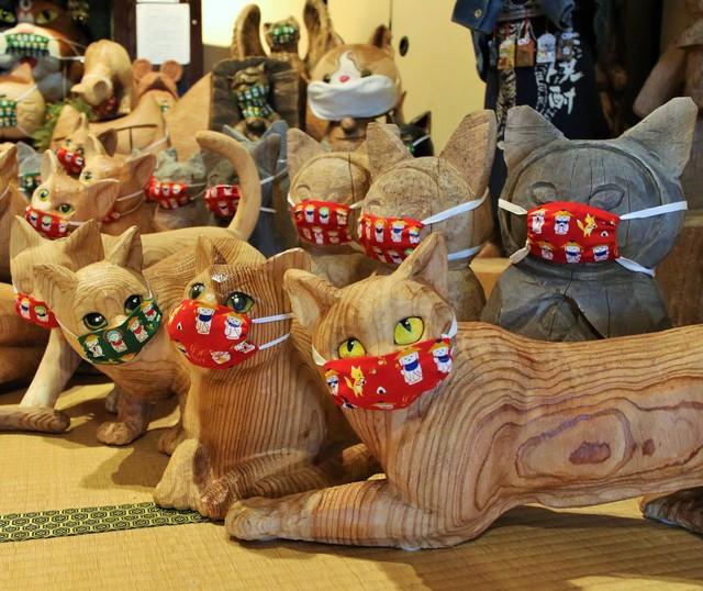 山口‧雲林寺100隻木雕貓咪全戴口罩 SNS上治癒人心掀話題
