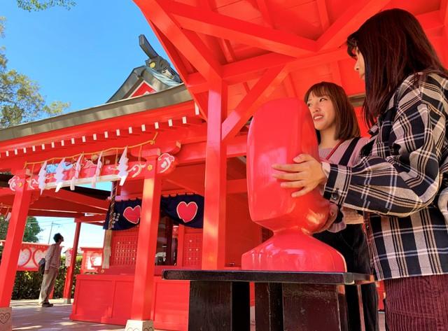 福岡縣「戀愛之神」換新裝 神社內設置♡型紀念裝置