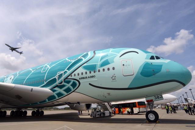 ANA「飛天海龜」2號機成田亮相 化身海洋風祖母綠