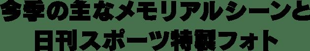 今季の主なメモリアルシーンと日刊スポーツ特製フォト