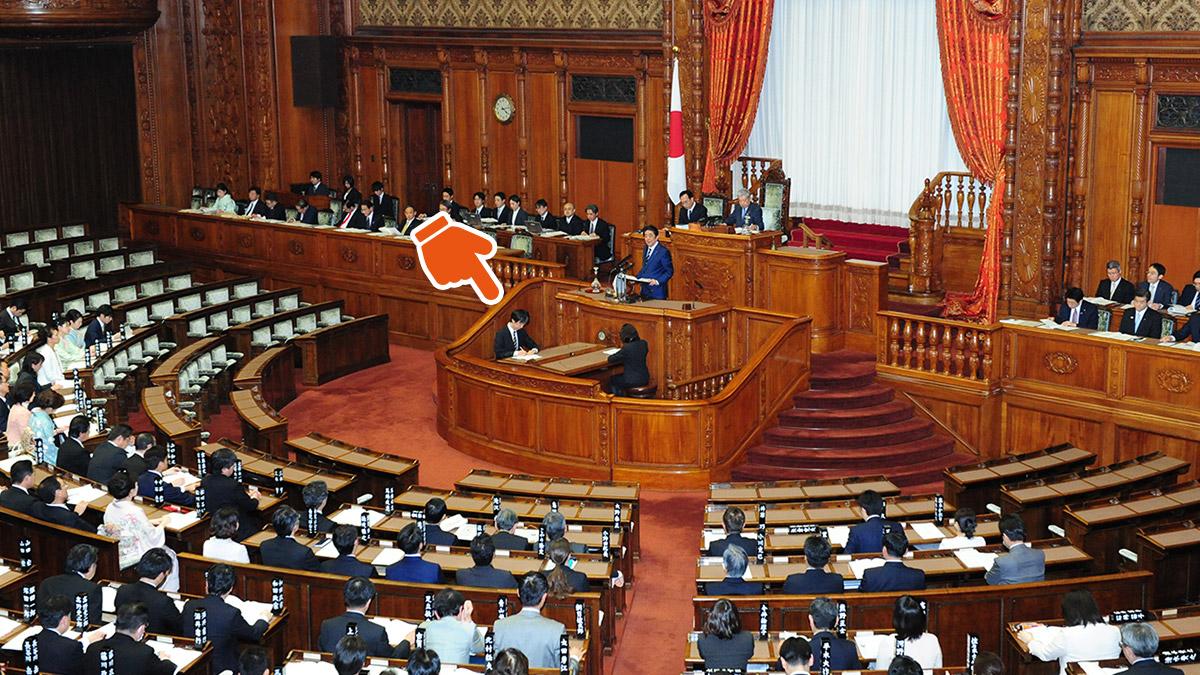 国会で演説する首相の真下にいるあのひと、何してる?   おしごとはく ...