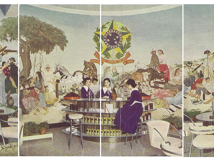 "General view of the interior of Café do Brasil showroom, Tokyo.(cropped) Reproduction of the booklet ""Story of the Brazil Coffee"", 1935 (Courtesy of the Embassy of Brazil)