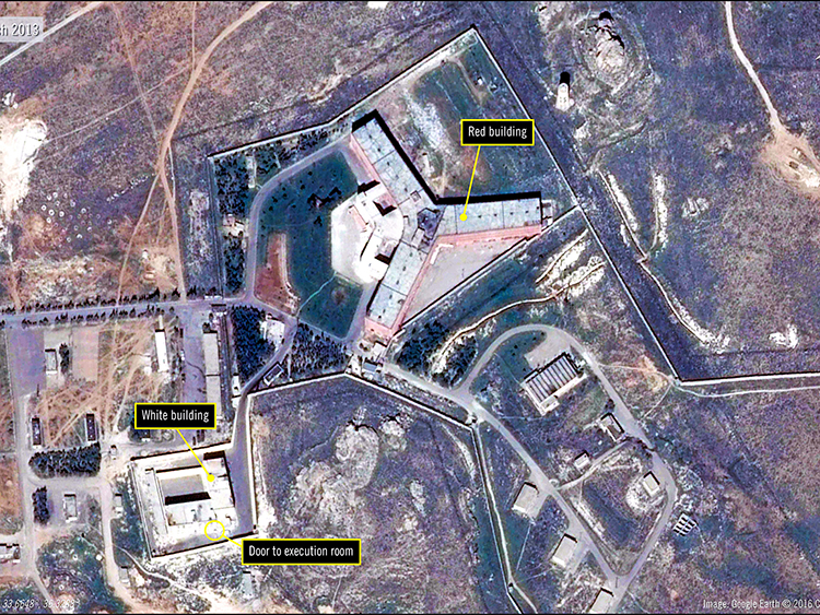 An undated handout satellite image provided by Amnesty International shows the military-run Saydnaya Prison, where the Syrian government has executed thousands of prisoners, near Damascus, Syria. Hundreds of thousands of Syrians have been locked away in filthy prisons where thousands were tortured to death — and the pace of arrests and executions is accelerating. (Amnesty International via The New York Times) -- NO SALES; FOR EDITORIAL USE ONLY WITH NYT STORY SYRIA PRISONS BY ANNE BARNARD FOR MAY 11, 2019. ALL OTHER USE PROHIBITED. --