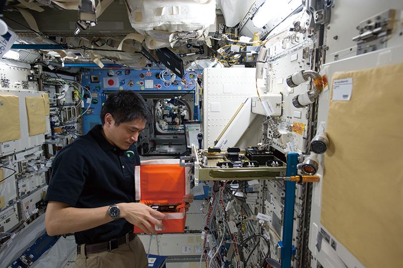 「きぼう」棟内でタンパク質結晶生成装置に実験サンプルを設置する大西卓哉宇宙飛行士(JAXA提供)